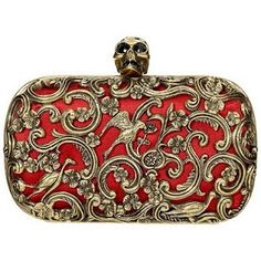 Alexander McQueen Red Ornate Skull Clutch