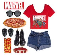 """""""Marvel and Pizza Casual Outfit"""" by loveselena22 ❤ liked on Polyvore featuring Forever 21, Dr. Martens, Tarina Tarantino, Valentino, vintage, women's clothing, women, female, woman and misses"""