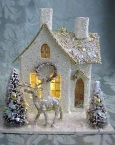 Beautiful Vintage Putz Style House * Mica Glitter, Holiday & Christmas Houses with Beautiful Bottle Brush Trees * Design & Decor DIY Inspiration * For the love of tiny & shiny!