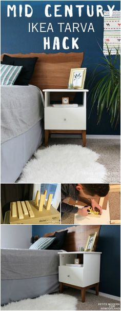 From easy to difficult projects you can keep you busy and your home looking good! you can make a Mid Century IKEA Tarva Nightstand Hack.