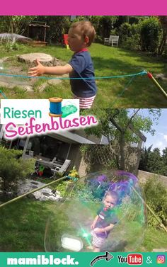 DIY Riesenseifenblasen selbstmachen DIY giant soap bubbles: great fun for children and toddlers. Outdoor Games For Kids, Backyard For Kids, Diy For Kids, Kids Activities At Home, Infant Activities, Diy Videos, Craft Videos, Baby Diy Projects, Art Drawings For Kids