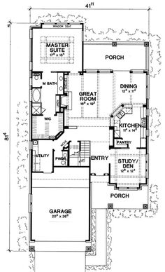 Stylish Plan For A Narrow Lot Hwbdo69203 Bungalow