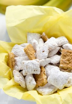 Banana Cream Pie Muddy Buddies Recipe ~ so addictive... packed so full of that delicious banana cream flavor