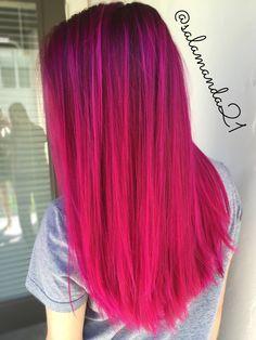 Joico magenta pink extreme color balayage done by me Manda Halladay  @salamanda21