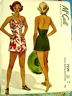 Vintage McCall 7229 Sewing Pattern -  1940s bathing suits / swimsuits / swimwear