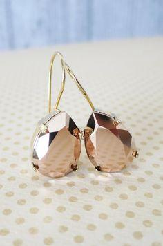 Simple Swarovski Crystal Teardrop Earrings Rose