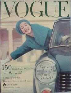 High fashion, classy cars and female emancipation intertwined in this 1958 cover of Vogue magazine.