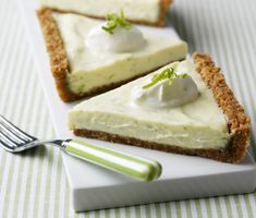 Key Lime Pie - Our version of the classic American Key Lime Pie which uses limes from the Florida Keys and a crumbly biscuit base. Creamy, zesty, sharp, sweet and delicious.  You can make it too! Click for the recipe »