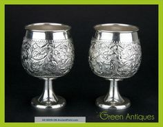 Antique Style 20thc Pair Of Solid Silver Brandy / Spirit Goblets C.  1980 Cups & Goblets photo