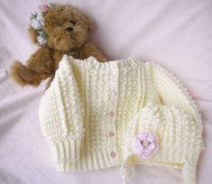 Crocheted Baby Irish Knit Sweater Infant Toddler sizes w Hat Pink Flower Girls Handmade Baby, Handmade Clothes, Handmade Gifts, Hand Crochet, Knit Crochet, Unique Mothers Day Gifts, Toddler Sweater, Crochet Baby Booties, Baby Sweaters