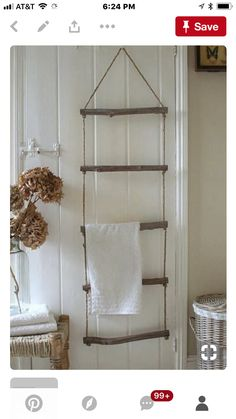 Oh my Heavens!  Wonder where my towel rack is that Dad made with dowels and fancy rope.  Might have to make one myself.
