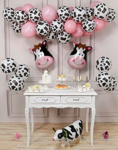 Printed Balloons, Pink Balloons, Mylar Balloons, Balloon Arch, Balloon Garland, Cow Birthday Parties, Farm Birthday, Birthday Banners, Birthday Invitations