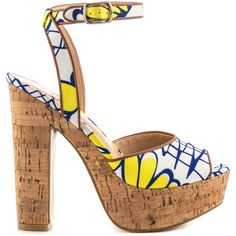 LFL Women's Fab - Yellow Multi ($80) ❤ liked on Polyvore featuring shoes, sandals, heels, platform sandals, ankle strap heel sandals, yellow canvas shoes, canvas shoes and platform heel sandals