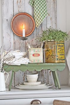 old garage sale cabinet painted white and topped with a little shabby table. So clever! Diy Garden Furniture, Shabby Chic Furniture, Shabby Chic Decor, Painted Furniture, Furniture Ideas, Cottage Living, Cottage Homes, Cottage Chic, Cottage Style