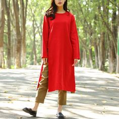 Casual Cotton Linen Long Sleeves Autumn Winter Women Dress