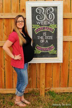 36 weeks pregnancy chalkboard tracker; little baby garvin chalkboard inspiration