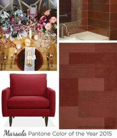 Pantone Color Of The Year 2015 Marsala - a naturally robust and earthy wine- will be seen in home, fashion, automotive and many other industries worldwide. Marsala, Pantone 2015, Pantone Color, 2015 Color Trends, Color Blending, Interior Design Tips, Color Of The Year, Room Colors, Falling Leaves