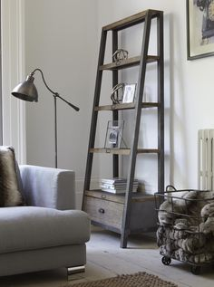 Stylish grey leaning shelf solution