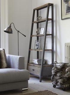 Stylish grey leaning shelf solution