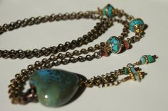 Turquoise Ceramic Heart Necklace by MessyCrow on Etsy, $35.00