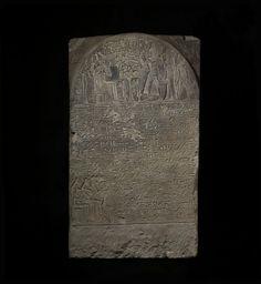 Limestone stela of Djehutymose and his wife Khayet. XVIIIth dynasty. Memphis - Mit Rahina. British Museum.
