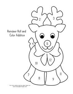 reindeer math - roll the dice, add, and color. From the Very Busy Kindergarten