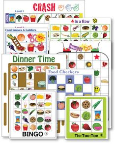 ESL GAMES-FOOD GAME PACK - This PDF file includes 9 different game boards: a 4 in a Row game board, a Crash game board, a Dinner Time game board, a Bumper Cars game board, three Easy Checkers game boards, three Easy Snakes  Ladders game boards, twelve Bingo game boards plus draw cards, and twelve Tic-Tac-Toe game boards with instructions. The file has been recently updated to include three Cootie Catcher templates.  TeachersPayTeachers.com
