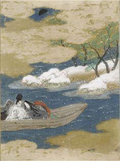 """A Drifting Boat (Ukifune), Illustration to Chapter 51 of the """"Tale of Genji"""" (Genji monogatari) by TOSA Mitsunobu, Paintings"""