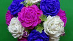 Cách làm hoa hồng xoắn từ giấy nhún