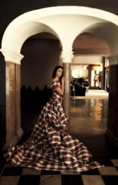 Tartan Gown. slightly dramatic