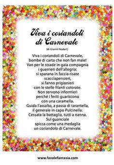 Tante belle filastrocche per i bambini da proporre per Carnevale: date un'occhiata! http://laboratoriperbambini.altervista.org/blog/poesie-e-filastrocche-di-carnevale-per-bambini/