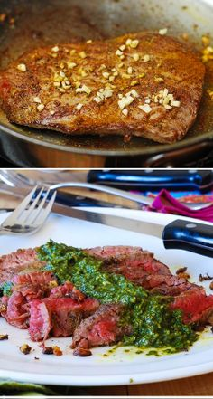 My favorite way to prepare flank steak: pan-seared, medium-rare, with spices, sliced against the grain into thin steak strips. Served with delicious Chimichurri sauce - made with spinach (or fresh parsley), garlic, olive oil, balsamic vinegar, cumin.