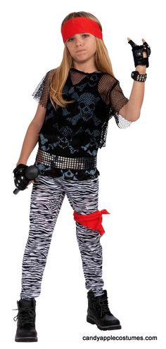 Rock out like the stars of hair metal in this kid size 80's rock star costume! Includes zebra print rocker pants, skull-print tank top, black mesh top, belt, red head sash, and red bandana.