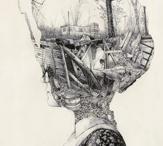 Illusion: These are pen drawings and paintings by Pat Perry. You can view his photography at Flickr. Artwork and photos © Pat Perry Link via Abduzeedo. http://illusion.scene360.com/art/26932/living-in-my-head/