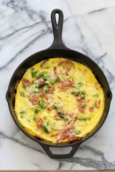 Spring Veggie Frittata with onions, asparagus and ham