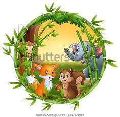 "Stock ilustrace ""Animals Meet Together"" 1217921089 School Frame, Adobe Illustrator, Vector Free, Meet, Illustration, Artwork, Pdf, Animals, Image"