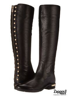 Polish off your fall look with these sleek studded Vince Camuto Parshell riding boots. Crafted from supple leather featuring stud detailing along the back and a zipper closure at back for easy wearing. Wedge Boots, High Boots, Knee Boots, Heeled Boots, Bootie Boots, Black Riding Boots, Leather Riding Boots, Gold Boots, Motorcycle Boots