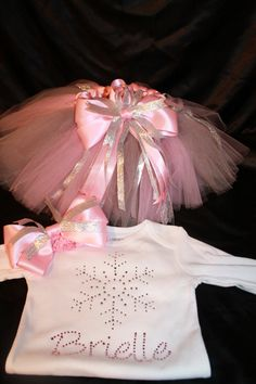 Bling Snowflake Tutu Set--Perfect for Winter Wonderland Birthday Party--Soft pink and silver. $50.00, via Etsy.