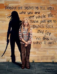 This Is Who I Am - There are so many amazing quotes on this show with important meaning to the characters who say them. This one, from Emma in episode 1x04 is one of those quotes that resonated with me and I've been trying to figure out the best way to do justice to it. I decided on the lost girl Emma with her Neverland badass shadow, hope you like it. Watercolour painting + digital text. All my Once Upon a Time fanart can be found on this tag. My print gallery is here. Close up here.
