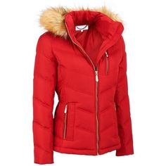 Famous Maker Puffy Hipster Coat w/ FauxFur Hood ($67) ❤ liked on Polyvore featuring outerwear, coats, red coats, faux fur trim coats, hipster coat, puffa coat and red puffer coat