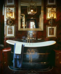 Masculine bathroom. Black with leather red. Blakes Hotel London by Anouska Hempel