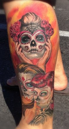 Dia de los muertos tattoo. Top one without the spider web (: