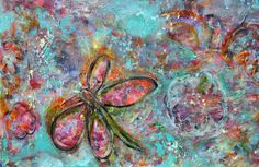"""Sold Detail of an Acrylic painting I did the winter of 2012--""""Silent Flight of the Dragonfly"""" By Lisa Doffing"""