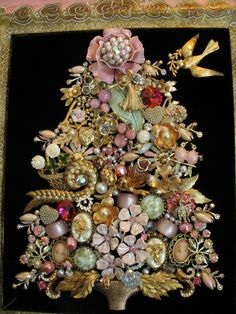 Framed Vintage Jewelry Christmas Tree Art Shabby Chic Pink Gold Angel Dove Heart | eBay