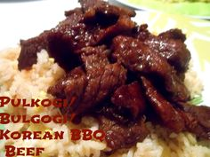 KV- Pulkogi/Bulgogi/Korean BBQ Beef- made in slow cooker low 5 hours.a little too long, was falling apart. A little too sweet for the family Meat Recipes, Asian Recipes, Crockpot Recipes, Chicken Recipes, Cooking Recipes, Recipes Dinner, Potato Recipes, Casserole Recipes, Breakfast Recipes