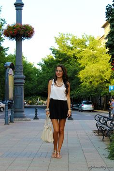Top & Skirt- H& M, Necklace- Invuu London. Love these sandals too!