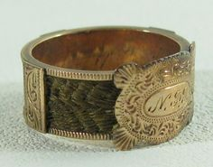 Engraved gold hair mourning ring, c 1840's