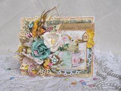 """Купить Пасхпльная открытка """"Христос Воскрес"""". - комбинированный, желтый, голубой, Пасха, пасхальная открытка"""