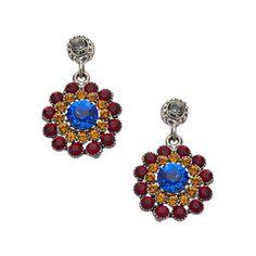 Otazu Multicolor Swarovski Crystal Flower Earrings ($154) ❤ liked on Polyvore