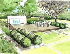 Sketch showing lawn panels in a modern garden design. - Sketch showing lawn panels in a modern garden design. Landscape Architecture Perspective, Landscape Architecture Drawing, Watercolor Architecture, Landscape Sketch, Landscape Drawings, Landscape Plans, Architecture Plan, Landscape Design, Landscape Architects